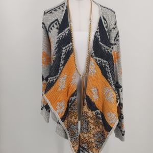 Charming Charlie gray Aztec wrap sweater